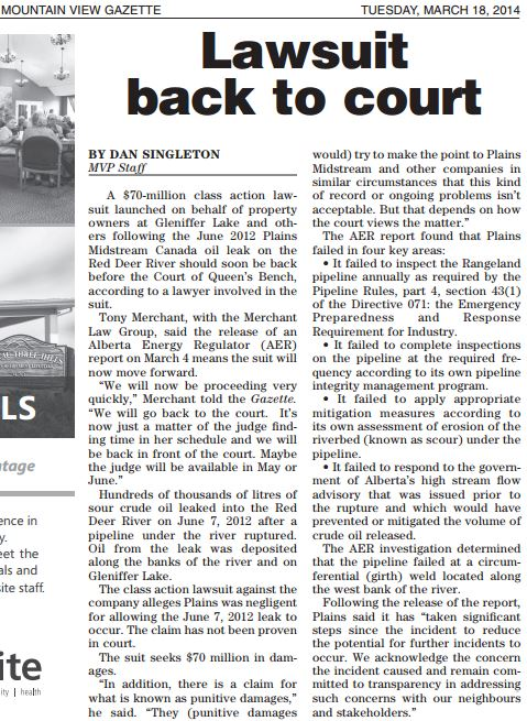 2014 03 18 Plains Midstream Sour Oil Spill Class Action Lawsuit back to court