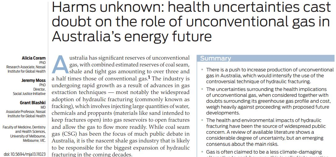 2014 03 Harms Unknown Health uncertainties case dout on rolel of unconventional gas in Australia's energy future snap