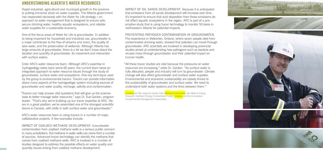 2006 2007 Alberta Research Council getting funding from Alberta Environment and Encana pg 14 from actual annual report