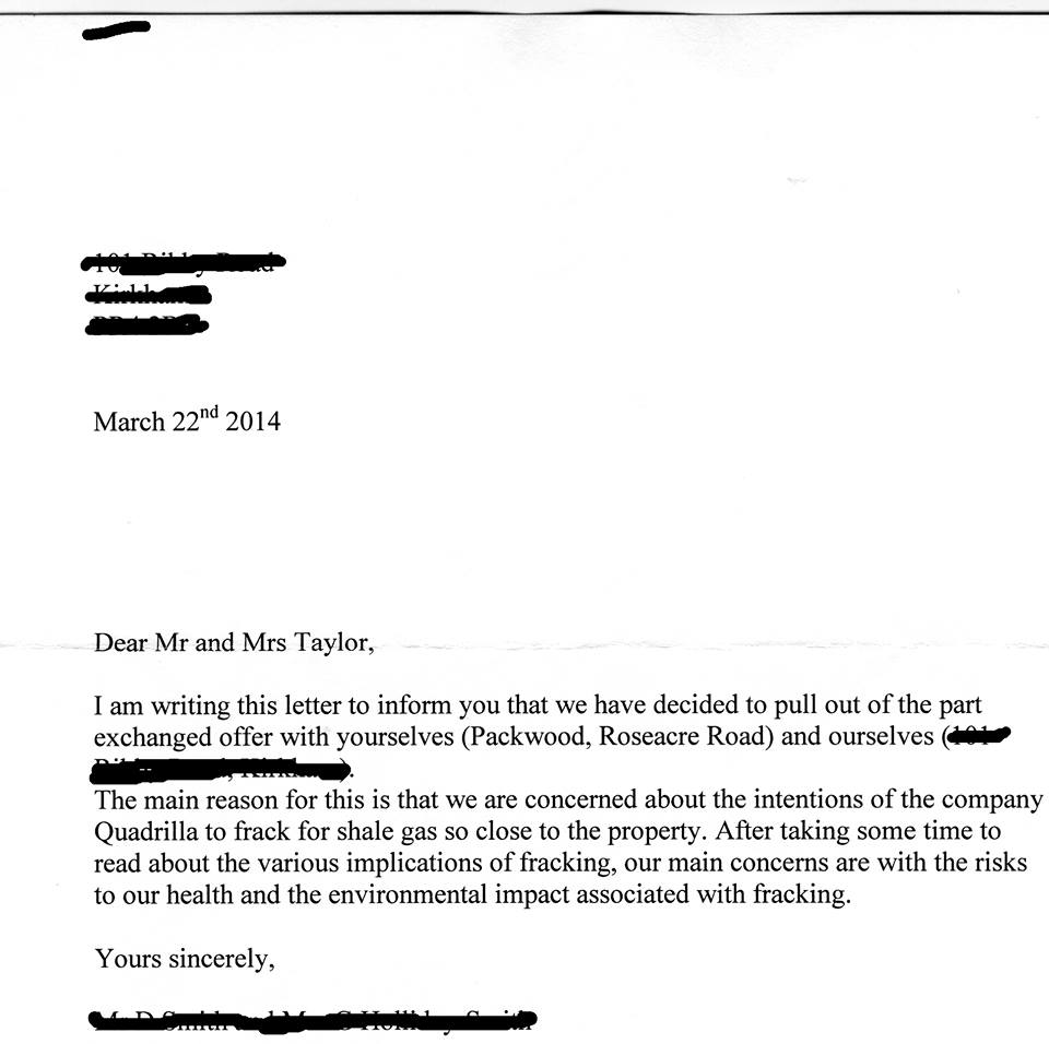 2014 03 22 UK Letter buyer has second thoughts because of fracking harm