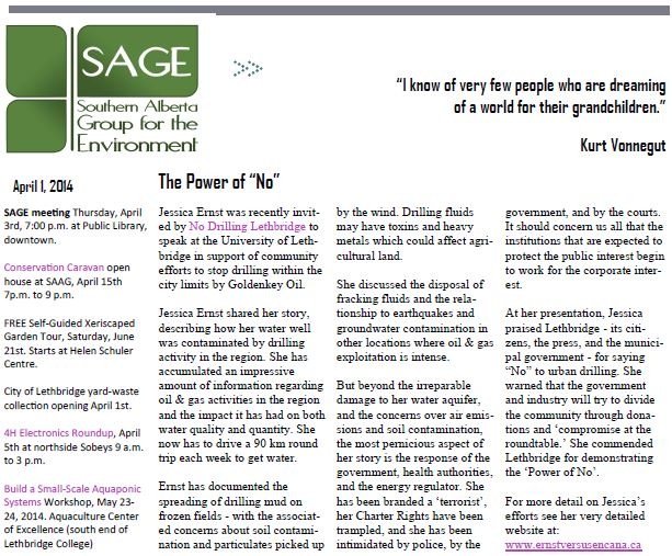 2014 04 01 SAGE newsletter Review of Ernst talk at Lethbridge The Power of No