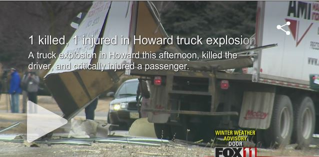 2014 04 04 1 killed 1 injured in Howard natural gas truck explosion