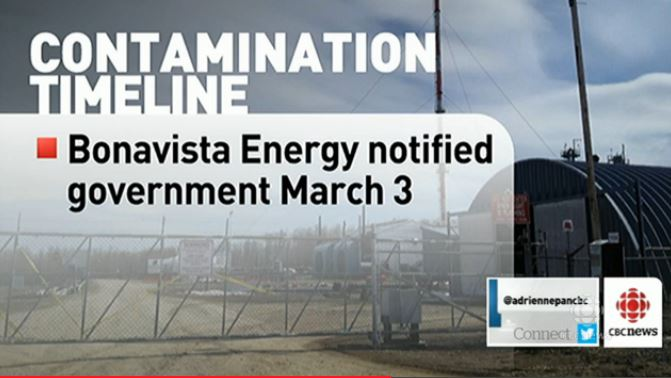 2014 04 15 Contaminated water in well at Edson, Bonavist notified government on March 3 2014, families using the water were not notified until March 14