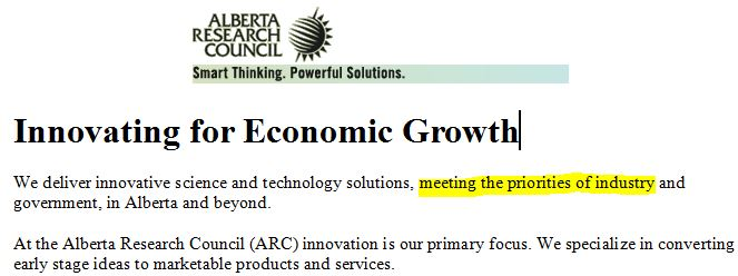 Alberta Research Council website before govt changed it to Alberta Innovates-Technologies Futures w yellow hilite