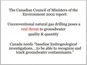 2002 Canadian Council of Ministers of the Environment need baseline hydrogeological investigations to track contaminants