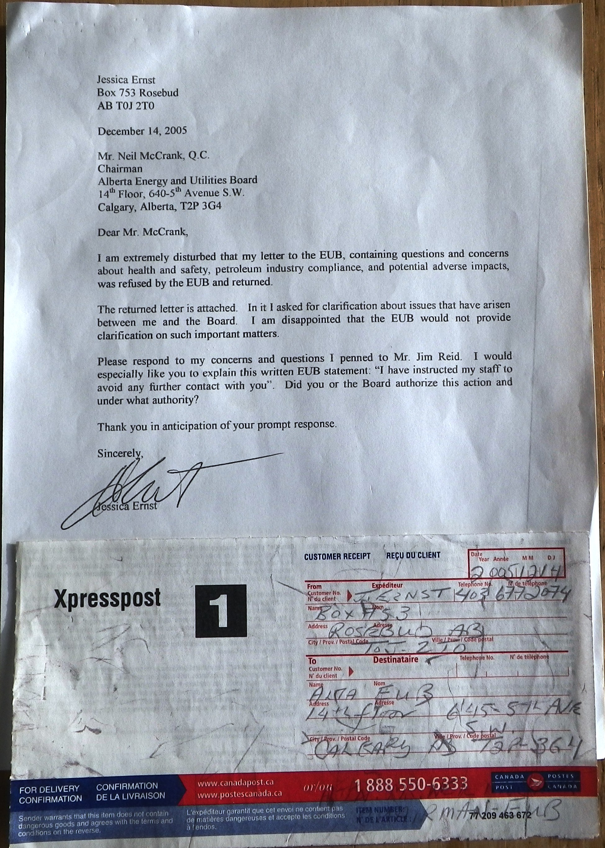 2005 12 14 Ernst letter to McCrank Alberta energy regulator refusing mail from harmed citizens