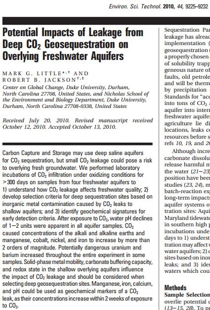 2010 07 20 Little M G and R B Jackson Potenital Impacts of Leakage from Deep CO2 Geosequestration on Overlying Freshwater Aquifers