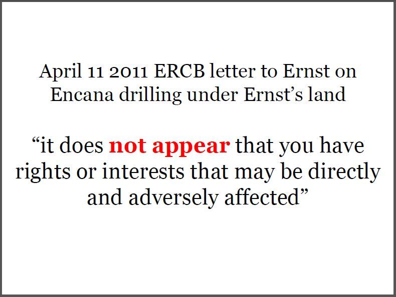 2011 04 11 ERCB Laurie Wilson-Temple ERCB Manager Applications letter to Ernst, no standing not even regarding her own property or water well