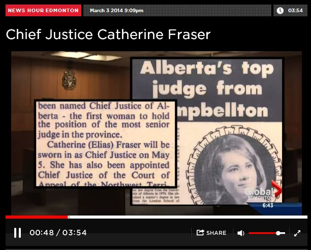 2014 03 03 Global Woman of Vision Alberta Top Judge, Chief Justice Catherine Fraser