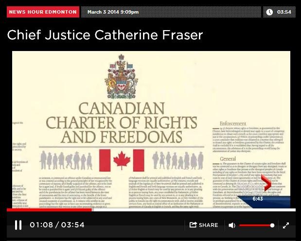 2014 03 03 Woman of Vision Alberta Top Judge, Chief Justice Catherine Fraser Canada's Charter