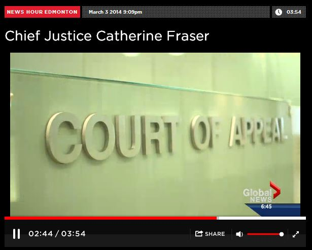 2014 03 03 Woman of Vision Alberta Top Judge, Chief Justice Catherine Fraser Court of Appeal