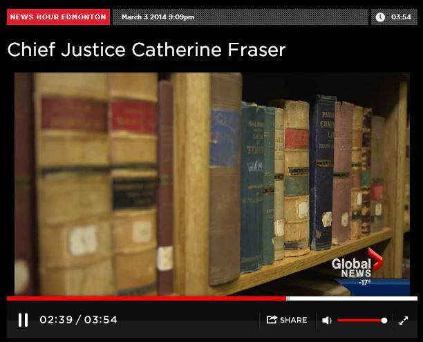 2014 03 03 Woman of Vision Alberta Top Judge, Chief Justice Catherine Fraser Law Books