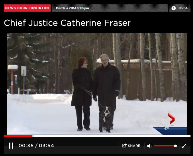 2014 03 03 Woman of Vision Alberta Top Judge, Chief Justice Catherine Fraser walking with husband and dog