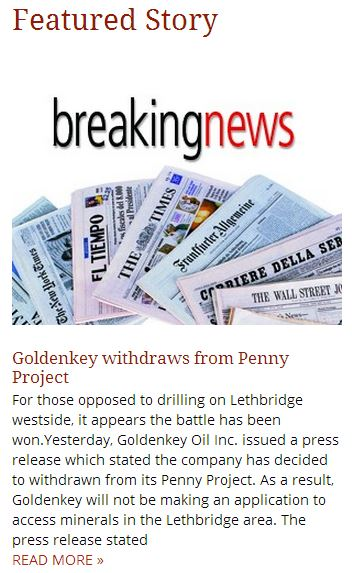 2014 05 01 Goldenkey withdraws from Penny Project Lethbridge Herald featured news