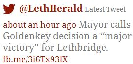 2014 05 01 Major Victory says Mayor of Lethbridge tweet