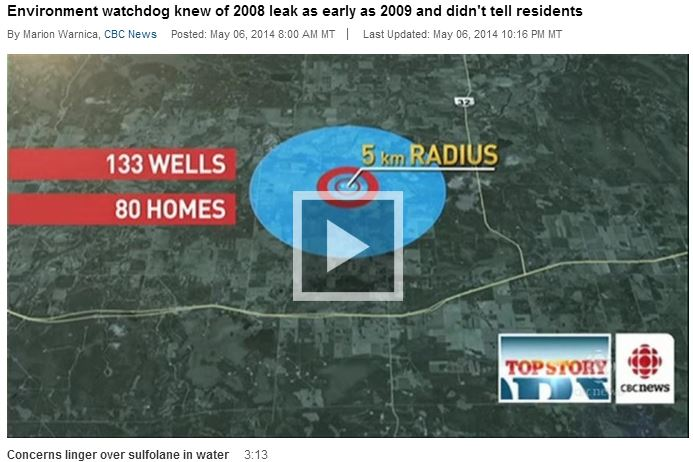2014 05 06 Alberta government knew of Edson sulfolane leak as early as 2009 did not tell residents relying on groundwater