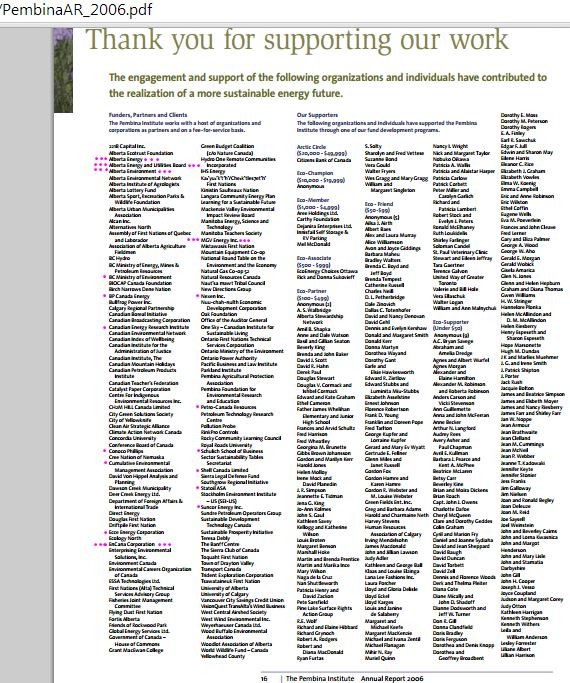 2014 05 06 Screen Grab Pembina Institute Annual Report 2006 Funders clients partners