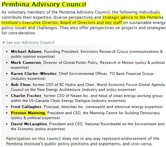 2014 05 06 Screen grab Pembina Advisory Council Preston Manning w hilite