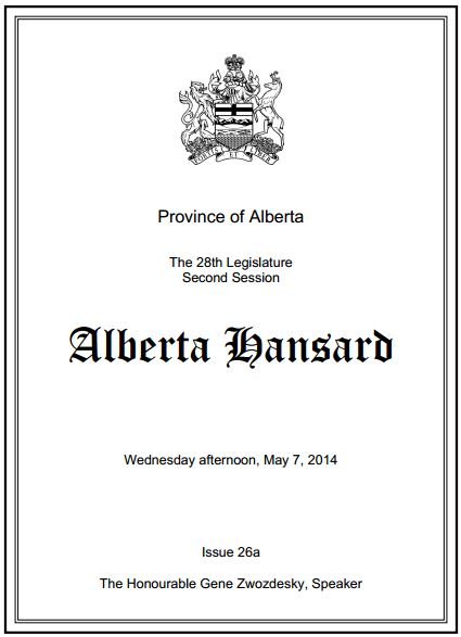 2014 05 07 Alberta Hansard May 7 Ann Craft's contaminated well water after fracing by Quicksilver