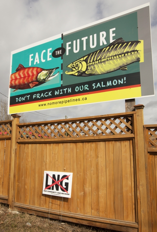 2014 05 13 Don't Frack with our Salmon No LNG signs Hazelton-500x738