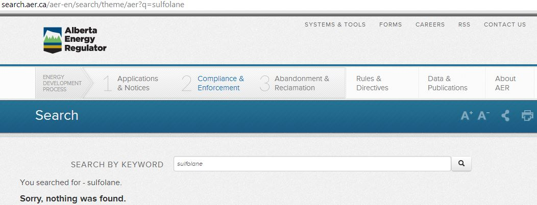 2014 05 14 snap no results found for sulfolane search on AER website