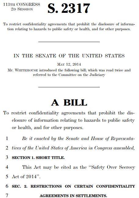 2014 05 15 US_S2317_Confidentiality Bill by U.S. Sentator Sheldon Whitehouse