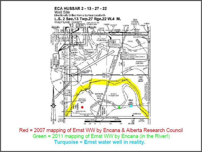 Encana survey 2-13 Directional Drill under Ernst property and Rosebud River, near contaminated water well