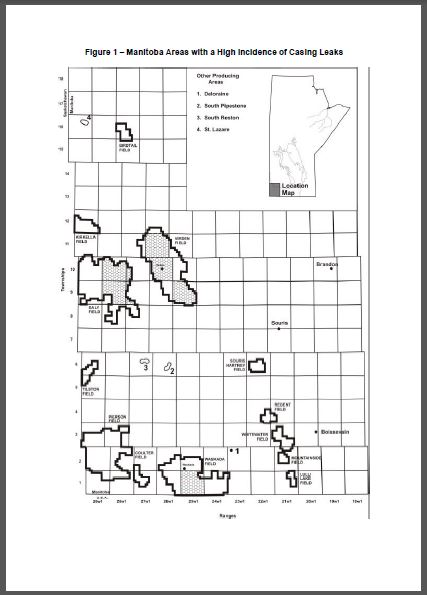 2004 Manitoba oil and gas areas with high casing leaks