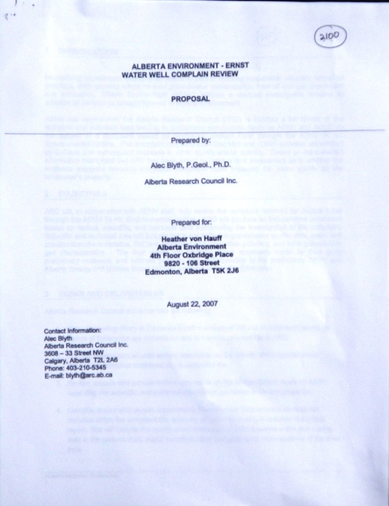 2007 08 22 Ernst water well complaint Review Proposal by Dr Alec Blyth for Alberta Environment