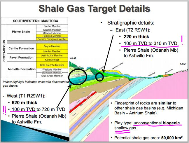 2012 snap diagram from presentation by Fox and Nicolas Manitoba Petroleum Branch shallow Biogenic shales 100 m to 720 m deep
