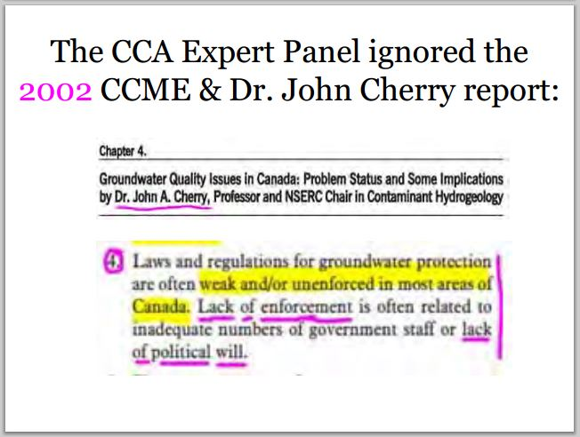 2014 04 30 CCAs Dr John Cherry Ignored His own 2002 CCME report Chapter 4 laws regs weak, lack of enforcement