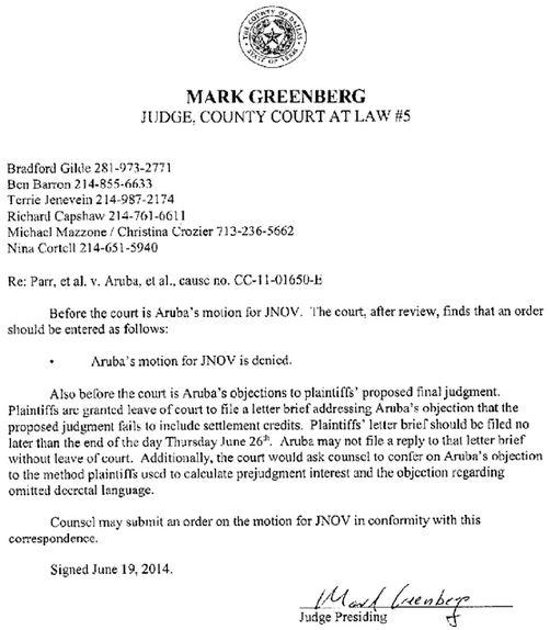 2014 06 19 Judge Mark Greenberg upholds jury 2.9 million verdict on the Parr case