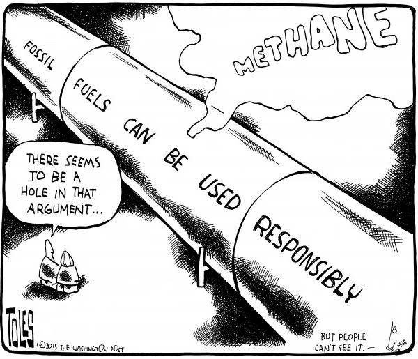 2015 01 Toles Cartoon, Hole leaking methane in the 'fossil fuels can be used responsibly' argument