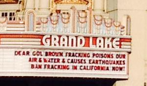 2015 02 07 Grand Lake, Dear Gov Brown, fracking poisons are air & water, causes earthquakes, ban fracking in CA now