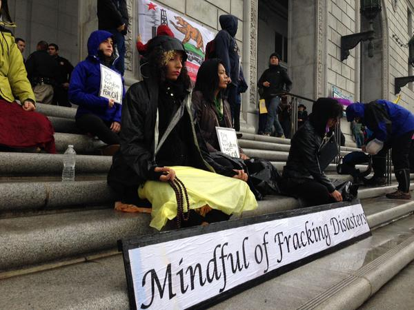 2015 02 07 largest no frac march in US history, Buddhist peace fellowship meditating to unfrackcal, mindful of fracking disasters