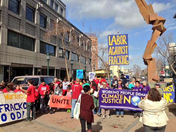 2015 02 07 largest no frac march in US history, labor against fracking, working people demand climate justice
