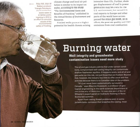 2015 02 17 Frac Talk 'Burning Water' photo, why not report on Maurice Dusseault's conflict of interest frac patent and Encana intentionally frac'ing drinking water aquifers