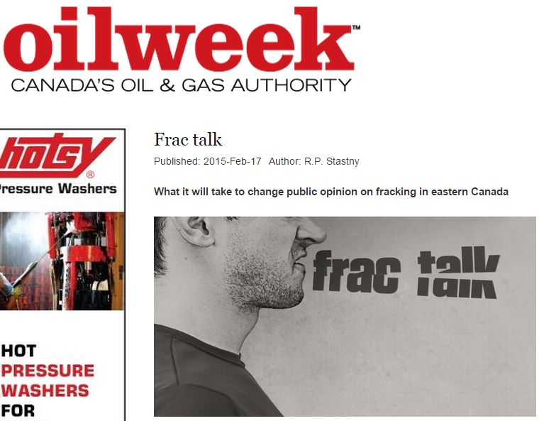 2015 02 17 Frac Talk in Oil Week, on how to con Canadians to accept fracing, taught by Maurice Dusseault et al on NL propaganda panel