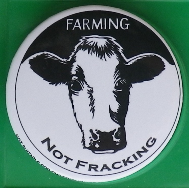 2015 03 17 Farming Not Fracking button Ireland gave Ernst in 2013 gr backgrd