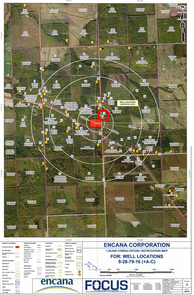 2015 03 19 Map Smith farm in Peace Region, retired farmer not happy about fracing by Encana 260 metres from his home