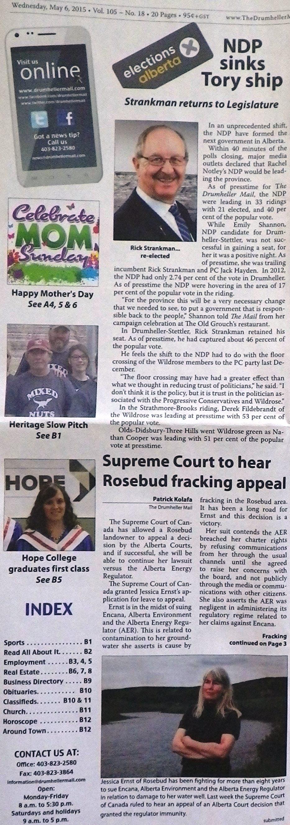 2015 05 06 Drumheller Mail Front Page, Supreme Court to hear Rosebud Fracking appeal