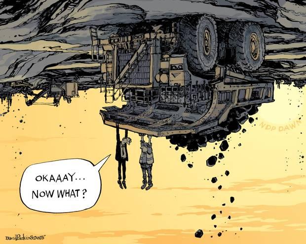 2015 05 10 Alberta Big NDP Majority, Cartoon Tarsands after shock