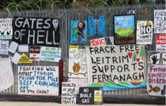 2015 06 12 International Human Rights Law and Fracking, Belcoo frac free signs, Northern Ireland