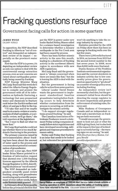 2015 06 20 Fracking questions resurface, print copy
