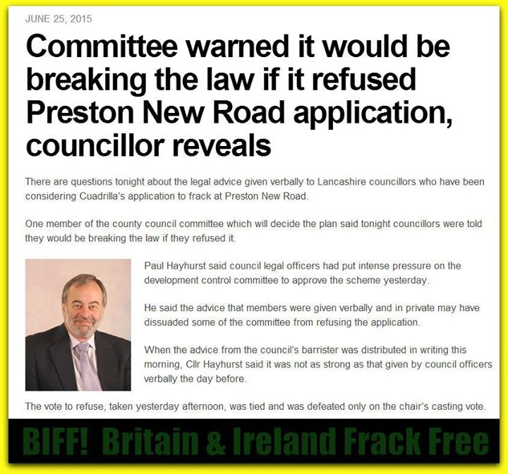 2015 06 25 Committee warned it would be breaking the law if it refused Caudrilla's frac application at Preston New Road