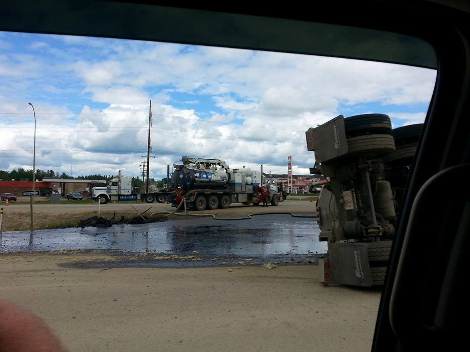 2015 06 In Town of Fox Creek, Alberta frac tanker accident and spill, stone throw to the Fox Creek itself