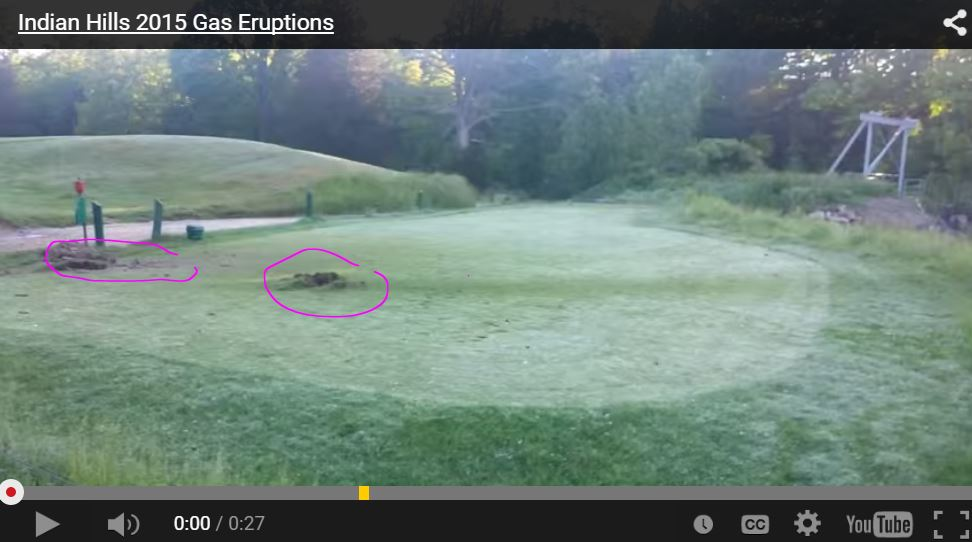 2015 06 Indian Hills Golf Course Natural Gas eruptions, geysers, on the green