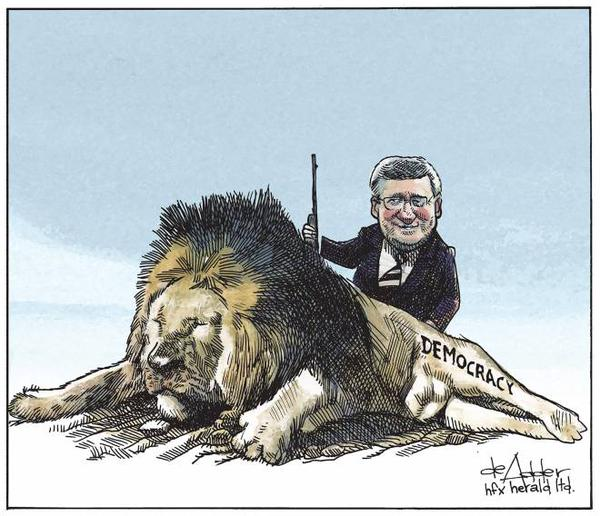 2015 07 30 Harper killed democracy cartoon