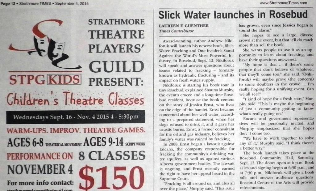2015 09 04 Slick Water Launches in Rosebud, Strathmore Times