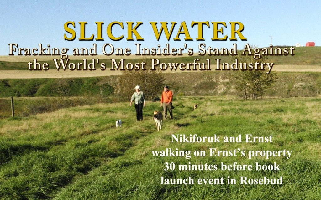 2015 09 12 Nikiforuk Slick Water launch at Rosebud, walking w Ernst on her land half hr before event r